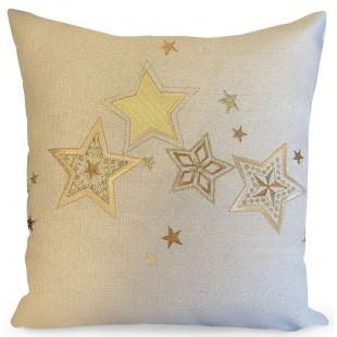 Obliečka na vankúš krémová so zlatými hviezdičkami