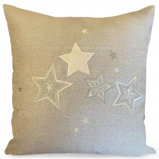 Obliečka na vankúš sivá so striebornými hviezdičkami