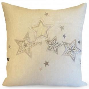 Obliečka na vankúš biela so striebornými hviezdičkami