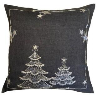 Obliečka na vankúš tmavosivá s vianočnými stromčekmi