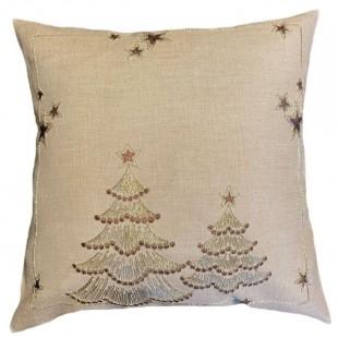 Obliečka na vankúš béžová s vianočnými stromčekmi