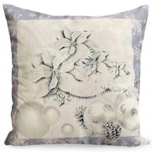 Obliečka na vankúš bielo-sivá s vianočným motívom