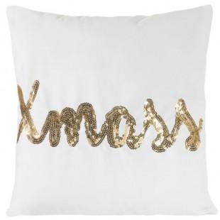 Obliečka na vankúš biela so zlatým flitrovým nápisom