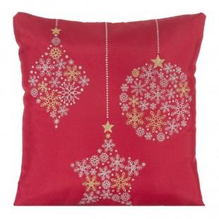 Obliečka na vankúš červená s vianočnými ozdobami