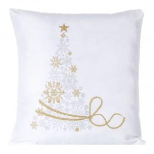 Obliečka na vankúš biela s vianočným stromčekom