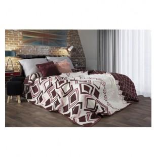 Bordovo krémový obojstranný prehoz na posteľ s kosoštvorcovým vzorom