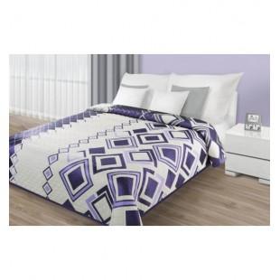 Krémovo fialová obojstranná prikrývka na posteľ s kosoštvorcovým vzorom