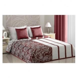 Elegantná bordovo krémová prikrývka na posteľ  s obojstranným prevedením