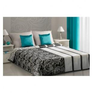 Čierno krémový prehoz na posteľ s elegantným ornamentom ruže