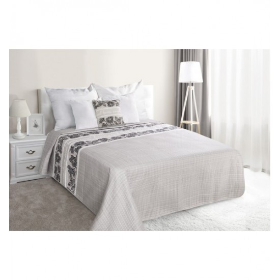 Elegantný sivý prehoz na posteľ s motívom kapučínových kvetov
