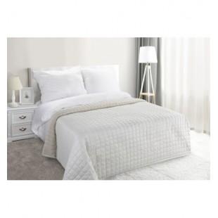 Béžový elegantný prehoz na posteľ so striebornými trblietkami