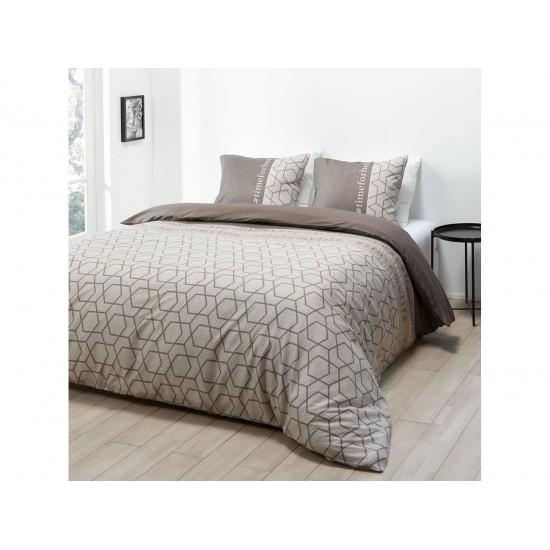 Hnedosivé posteľné obliečky vzorované