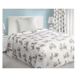 Prešívaný biely prehoz na posteľ s hnedým vzorom retro bicykla