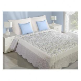 Elegantná prešívaná prikrývka na posteľ v bielo modrej farbe s kvetmi