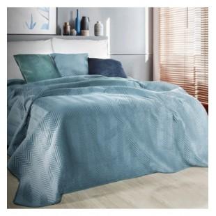 Mentolový zamatový prehoz na posteľ s cik-cak prešívaním