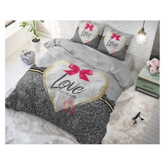 LOVE IS ALL YOU NEED posteľné obliečky sivej farby