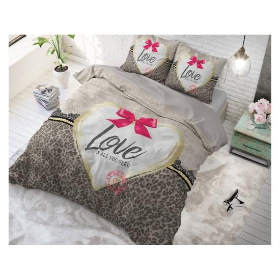 Glamorous posteľné obliečky sivo hnedej farby