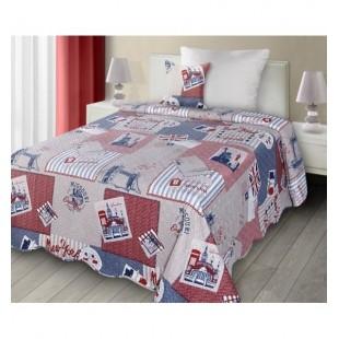 Béžovo červeno modrý prehoz na posteľ s motívom retro New Yorku
