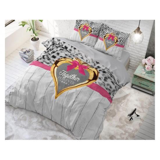 Romantické posteľné obliečky sivé so zvieracím motívom