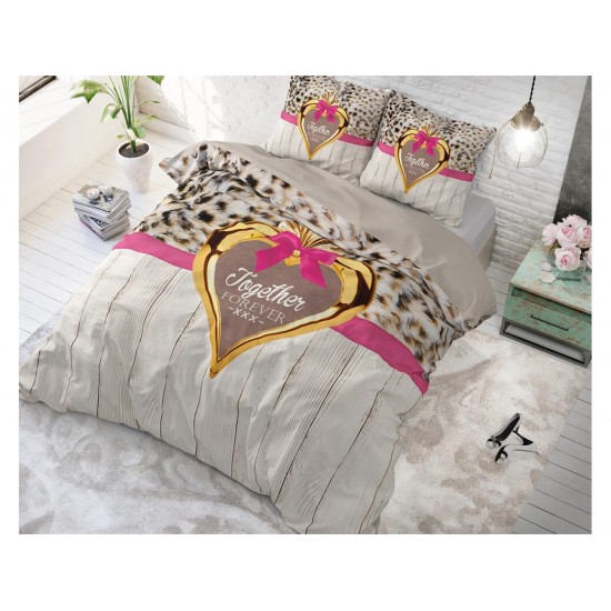 Romantické sivohnedé posteľné obliečky so zvieracím motívom