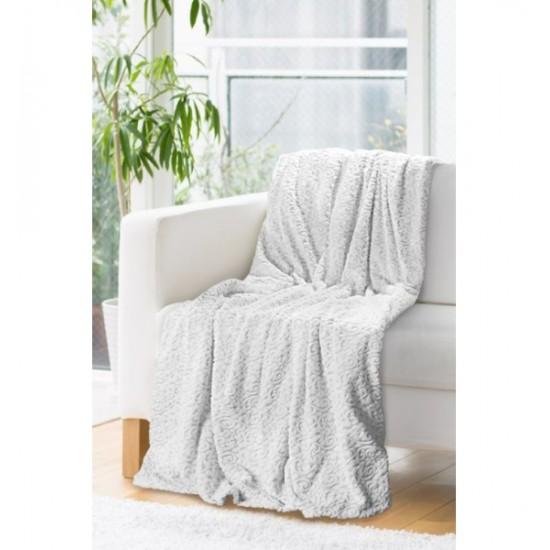 Biela dekoračná deka prešívaná striebornou niťou