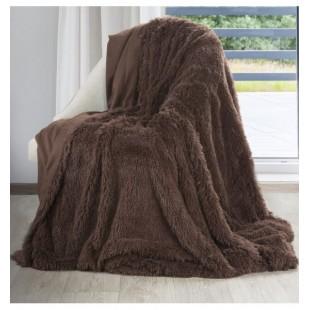 Tmavohnedá mäkká chlpatá deka
