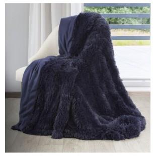 Tmavomodrá mäkká chlpatá deka