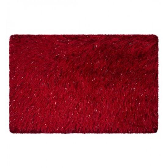 Červený luxusný kúpeľňový koberček so striebornými niťami