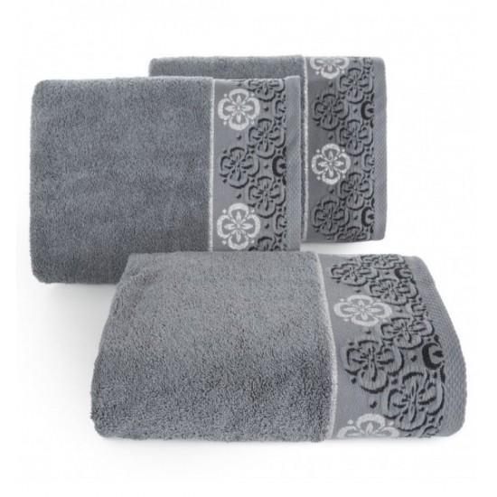 Kvietkovaný bavlnený uterák tmavosivej farby