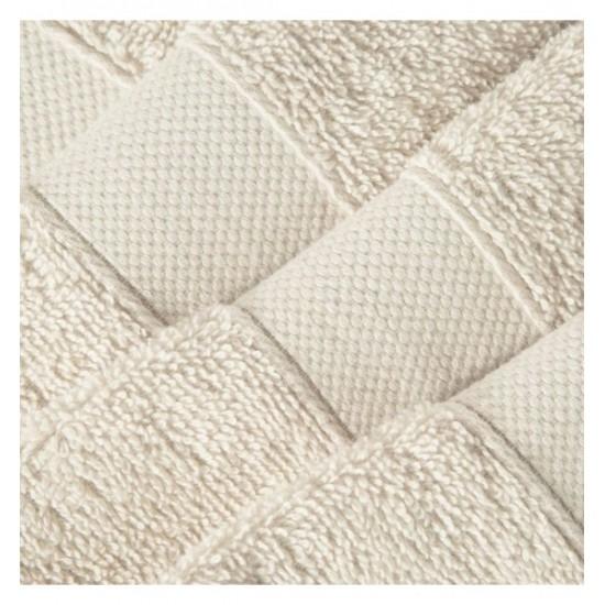 Béžový bavlnený uterák s vyšívaným pásom
