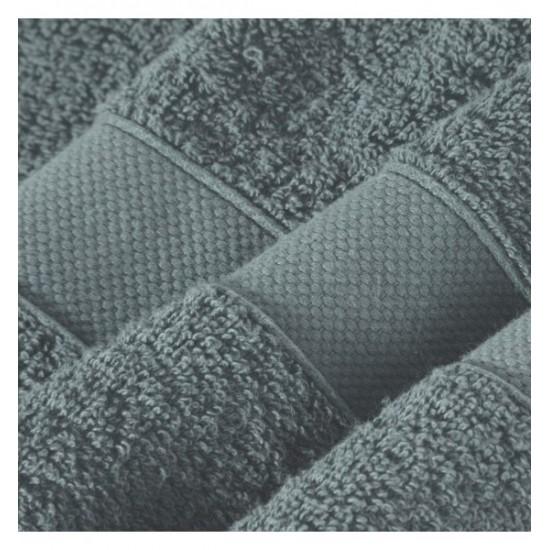Tmavosivý uterák z bavlny s vyšívaným pásom