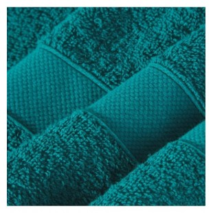 Tyrkysový bavlnený uterák s ozdobným pásom