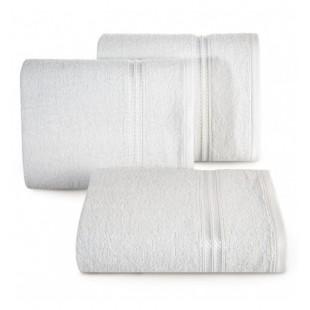Biely bavlnený uterák s ozdobným pruhom