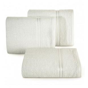 Krémový bavlnený uterák s ozdobným pruhom