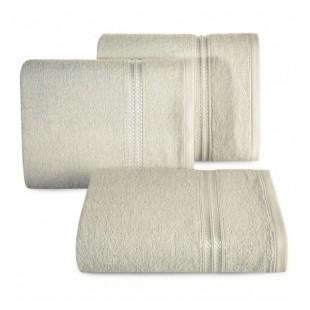 Béžový bavlnený uterák s ozdobným dvojitým pruhom