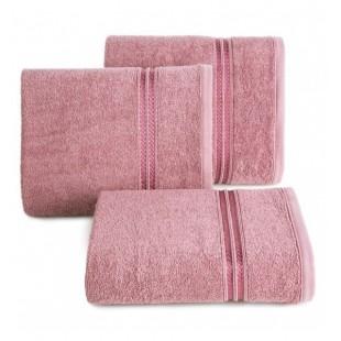 Bavlnený uterák s ozdobným dvojpruhom v lilavej farbe