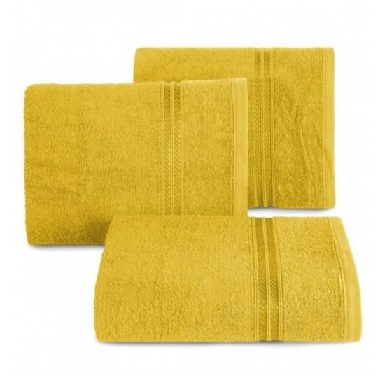 Bavlnený uterák s ozdobným dvojpruhom v horčicovej farbe