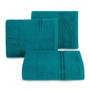 Tyrkysový bavlnený uterák s ozdobným dvojitým pruhom