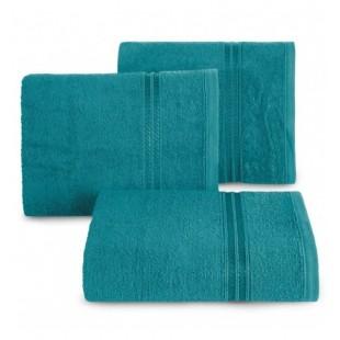 Svetlo tyrkysový bavlnený uterák s ozdobným dvojitým pruhom