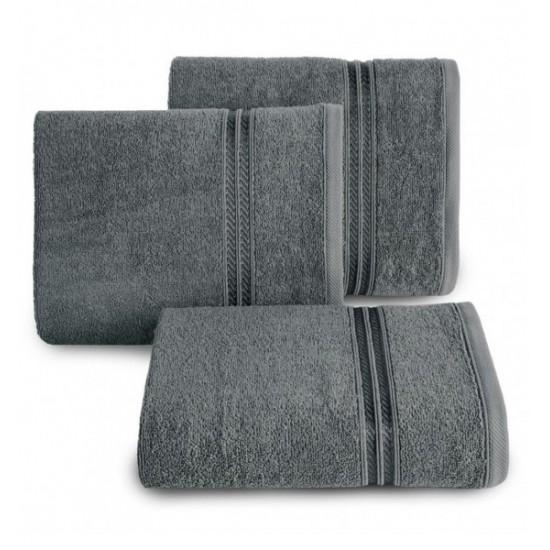 Tmavosivý bavlnený uterák s ozdobným pruhom