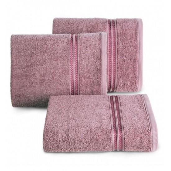Bavlnený uterák s ozdobným dvojitým pruhom v tmavej lilavej farbe
