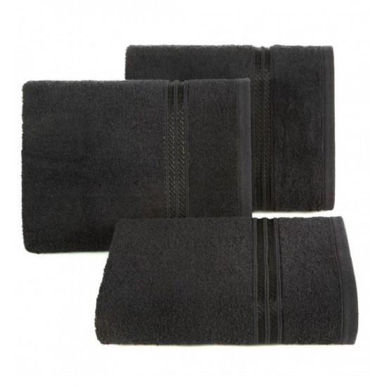 Čierny bavlnený uterák s ozdobným dvojitým pruhom