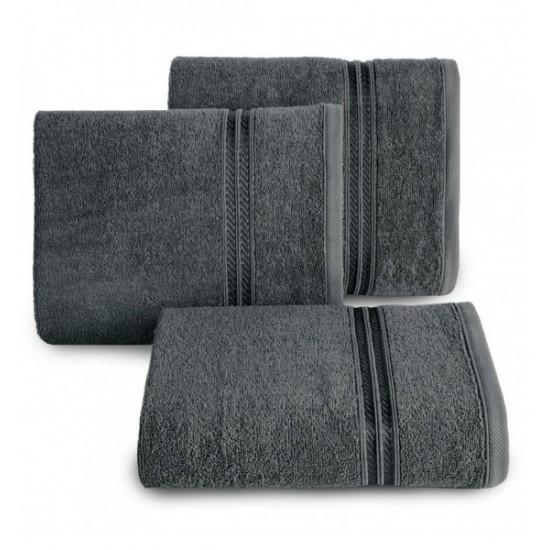 Bavlnený uterák s ozdobnými dvoma pruhmi v tmavosivej farbe