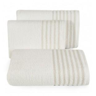 Bavlnený krémový uterák s ozdobnými pruhmi