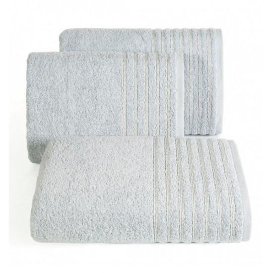 Bavlnený sivý uterák s ozdobnými pruhmi