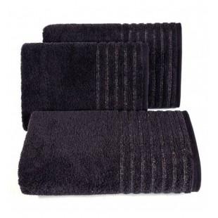 Bavlnený tmavosivý uterák s pruhmi