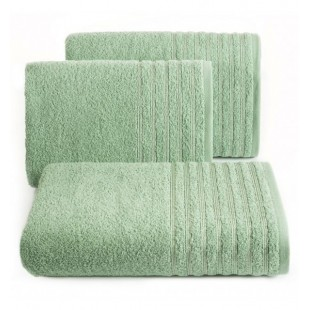 Bavlnený mentolový jednofarebný uterák s ozdobnými pruhmi