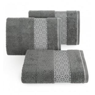 Tmavosivý elegantný bavlnený uterák s ozdobným vzorom