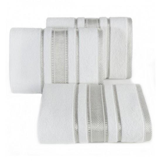 Luxusný bielo sivý bavlnený uterák s ozdobnými časťami