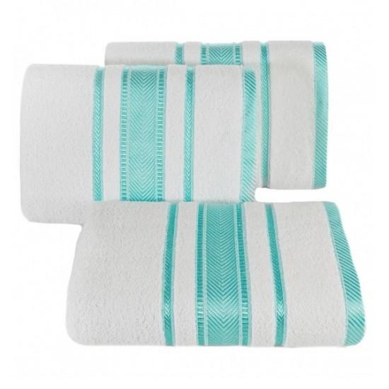 Luxusný biely bavlnený uterák s ozdobnými tyrkysovými časťami